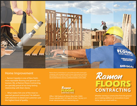 front of the brochure designed by JM for Ramon Floors Contracting