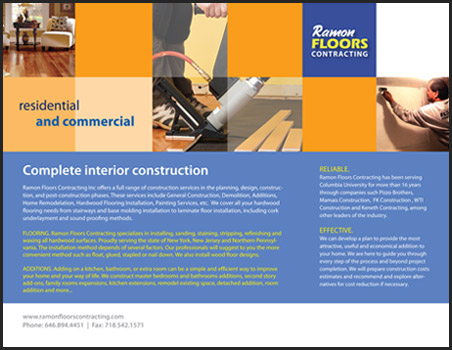 back of the brochure designed by JM for Ramon Floors Contracting