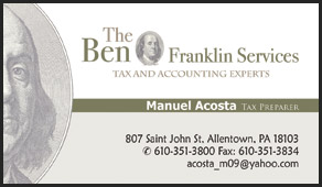 The Ben Franklin Services business cards