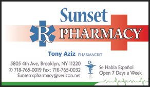 Sunset Rx Pharmacy business cards