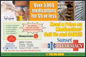 Sunset Rx Pharmacy postcards